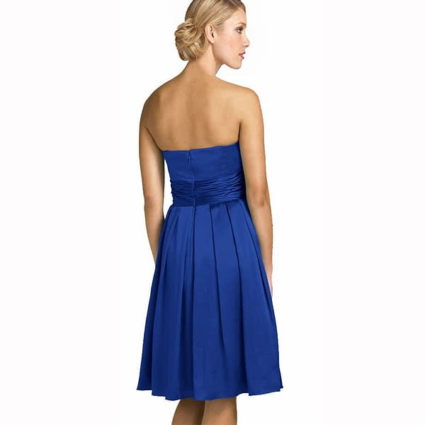 A Line Strapless Knee Length Satin Cocktail Party Bridesmaid Prom Dress Blue 191230072090 2