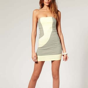 Fitted Strapless Bodycon Party Clubwear Mini Dress Grey