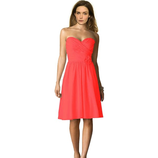 Strapless Short Chiffon Bridesmaid Formal Cocktail Evening Party Dress Coral Red 171376333380