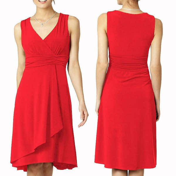 Elegant Mid Length V Neck Sleeveless Jersey Cocktail Party Day Dress Coral 400736448022