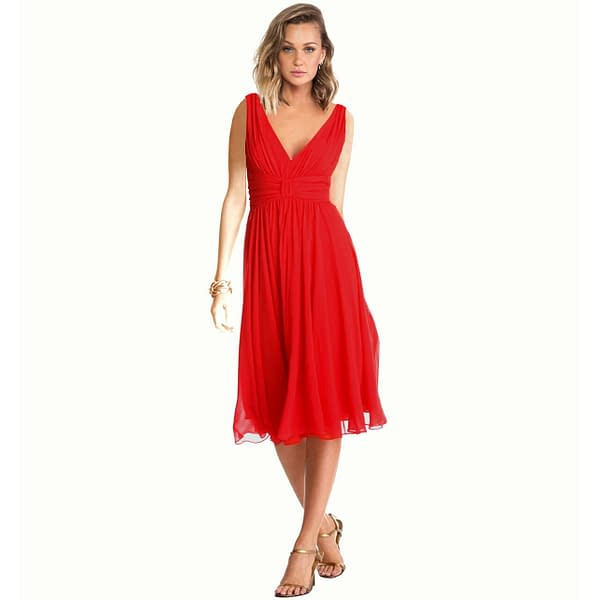 New Exquisite V Neck Cocktail Evening Party Chiffon Day Dress Red 400736516369