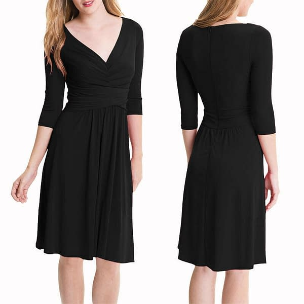 34 Sleeves Ruched V Neck Jersey Flare Cocktail Party Day Night Dress Black 400734707651