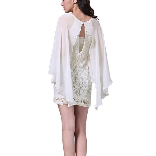 Short Chiffon Lace Cocktail Dress Club Party Wear with Fluted Sleeve Ivory 400735966755 3