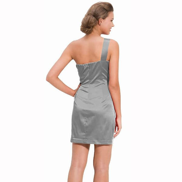 Draped Satin One Shoulder Formal Cocktail Evening Dress Prom Party Wear Silver 400736447938 2
