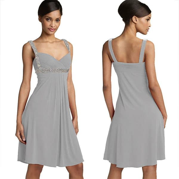 Sexy Beaded Knee Length Formal Cocktail Party Club Prom Dress Grey 171374438420