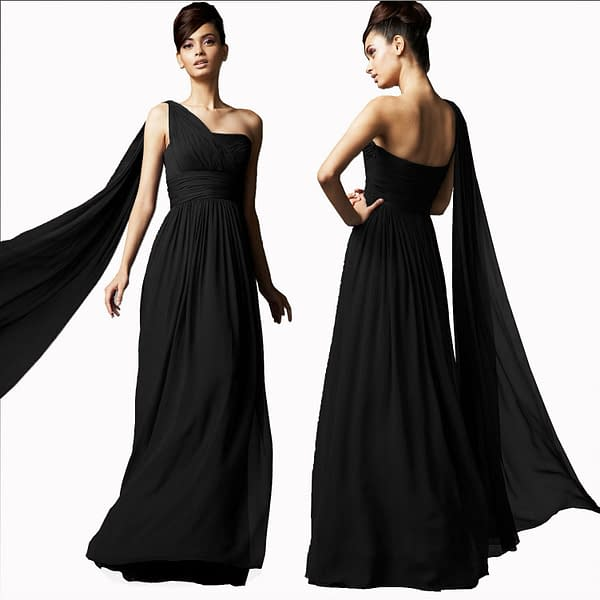 Long Flowing Formal One Shoulder Ball Gown Bridesmaid Evening Dress Black 400734283562