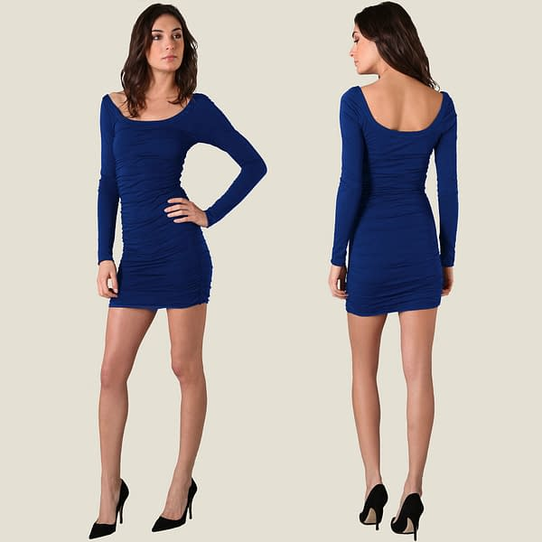 Long Sleeves Scoop neck Jersey Day Night Party Dress co9730 Cobalt Blue 400775139947