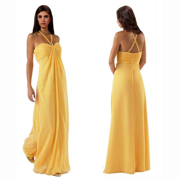 Gorgeous Long Flowing Formal Bridesmaid Dress Evening Party Night Gown Yellow 400736565171