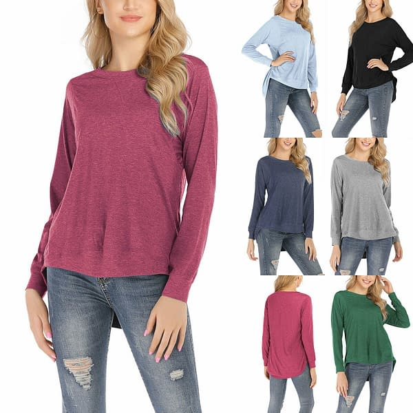 CWomen Pullover Round Neck Long Sleeve Casual Loose Blouse Tee T shirt Tunic Top 402575942142