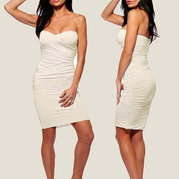 Ruched Strapless Night Club Dress Ivory