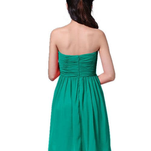 Strapless Full Length Chiffon Bridesmaids Dress Formal Evening Gown Turquoise 400732792068 5
